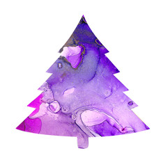 Alcohol ink texture on christmas tree. Fluid ink abstract art for design