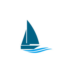 The ship is on the waves. Sailboat. Logo for a tourist company, for water competitions, for tourism.