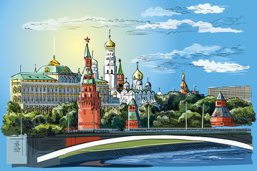 Vector colorful hand drawing Moscow-1