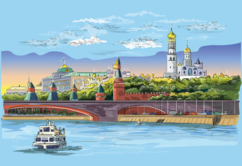 Vector colorful hand drawing Moscow-3