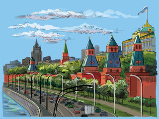 Vector colorful hand drawing Moscow-2