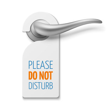 Silver realistic door handle with do not disturb white blank vector sign isolated on white door illustration