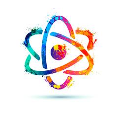 Atom model. Iicon of splash paint