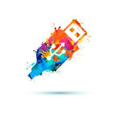 USB port icon of splash paint