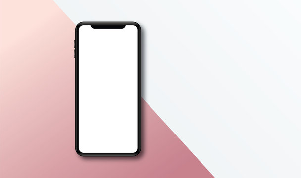 Modern frameless smartphone Mock up with blank white screen.