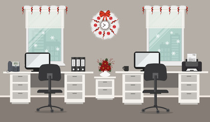 Office room, decorated with Christmas decoration. There are white desks, black chairs, computers, a printer, a phone and other objects on a window background in the picture. Vector illustration
