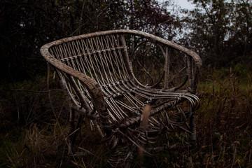 dark broken bench