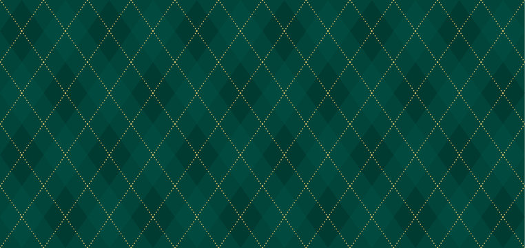 Argyle vector pattern. Dark green with thin slim golden dotted line. Seamless vivid geometric background for fabric, textile, men clothing, wrapping paper. Backdrop Little Gentleman party invite card