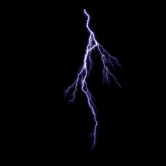 Isolated violet thunderstorm on the black background, lighting effect for photos and artworks.Overlay for photos.