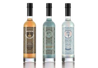 3 Vintage-Style Liquor Label Layouts