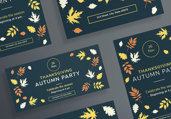 Thanksgiving Flyer Layouts with Colored Leaf Elements