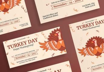Thanksgiving Flyer Layouts with Turkey and Spiral Elements