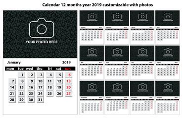 Calendario 12 mesi anno 2019 personalizzabile con testo foto e colori
