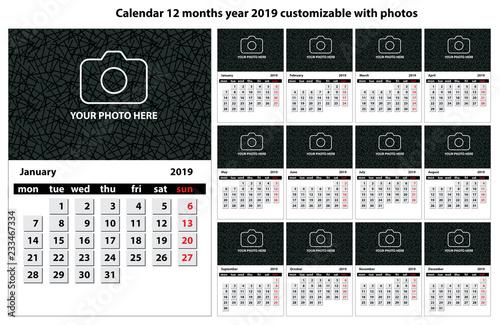 Calendario 12 Mesi.Calendario 12 Mesi Anno 2019 Personalizzabile Con Testo Foto