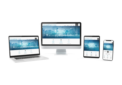 Computers and Mobile Devices Isolated on White Mockup