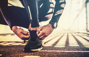 Tying sports shoes. Sport, exercise, fitness, workout