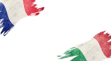 Flags of France and Italy on white background