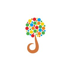 D Initial Letter with Tree Leaves Logo Vector