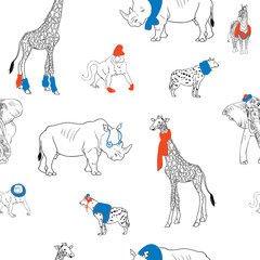 Savanna animals  wearing in beany, glasses, scarfs  playful pattern for textile, fabric, fashion kids clothes. African animal illustration isolated on background