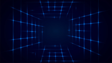 Abstract blue background with a laser tunnel