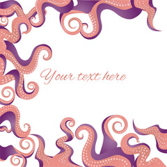 Tentacles frame coral pink color, ocean motive flat cartoon illustration for web and print, cute decoration.