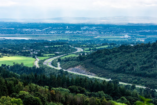 Areal view from Ravensdale forest park of Dundalk. Co Louth. Ireland