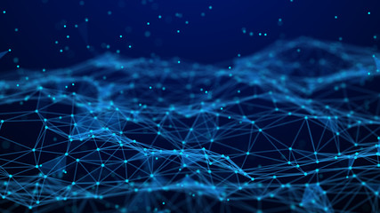 Fotobehang Fractal waves Abstract technology background. Network connection. Artificial intelligence. Science background. Big data digital background. 4k rendering.