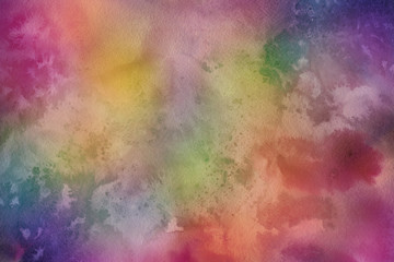 Colorful watercolor paper textures on white background. Chaotic abstract organic design.