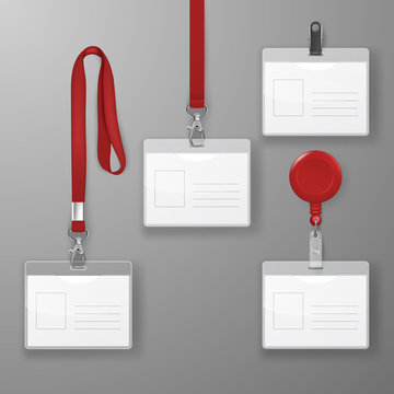 Vector Realistic Blank Office Graphic Id Card Set with Red Clasp, Holder Cllip and Lanyard Set Closeup Isolated. Design Template of Identification Card for Mockup. Identity Card Mock-up in Top view
