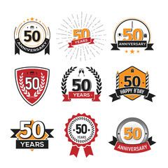 Collection of retro 50 th years anniversary logo. Set of Isolated vintage icons of fifty years celebrating vector illustration
