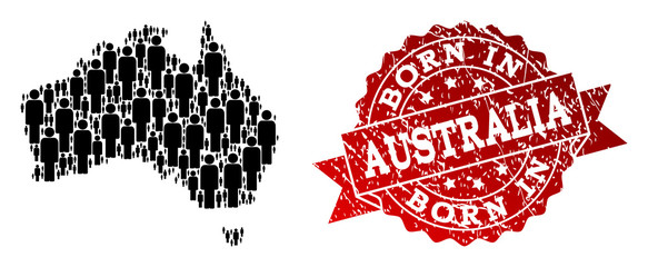 People crowd composition of black population map of Australia and rubber seal. Vector red seal with distress rubber texture has Born In text. Mosaic map of Australia designed with standing persons.