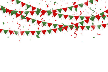Colorful bunting flags with Confetti and ribbons for Merry christmas, birthday, celebration, carnival, anniversary and holiday party on white background. Vector illustration