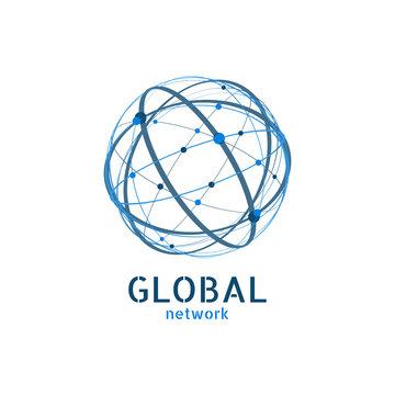 Global network logo. Connection minimal design. Vector illustration