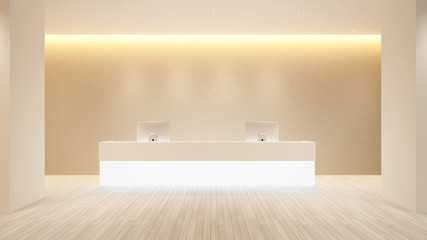 Counter Reception design for hotel or office - Lobby hotel or Information design for Building artwork - 3d Rendering