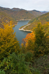 Amazing Autumn Landscape of Tsankov kamak Reservoir, Smolyan Region, Bulgaria