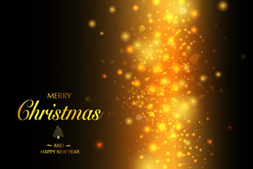 Christmas card. Background with glitter golden frame and space for text