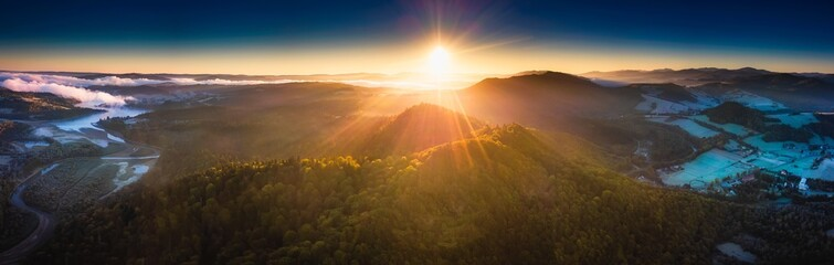 Sunrise over Bieszczady Mountains in Poland. Aerial panoramic landscape. Fototapete