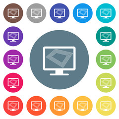 Screen saver on monitor flat white icons on round color backgrounds