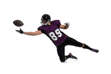 American football player with ball on white background