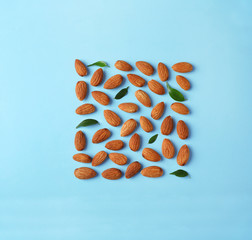 Composition with organic almond nuts on color background, top view