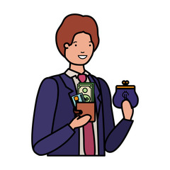 man with coin purse and wallet with money