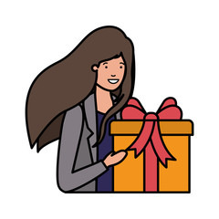 young woman with gift box avatar character