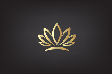 Logo gold lotus vector