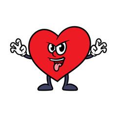 Cartoon Scaring Heart Character
