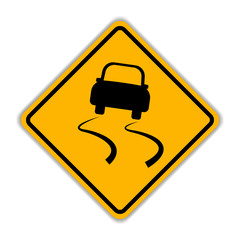 Traffic sign for slippery road