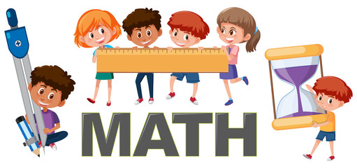 Children with math tools