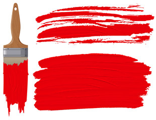 Red paint brush on white background