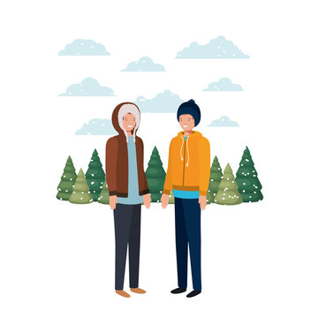men with winter clothes and winter pine trees avatar character
