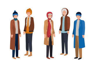 men with winter clothes avatar character