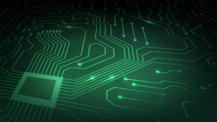 Background with glowing microcircuits and a processor, abstract green technological background, motherboard